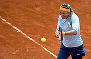 Victoria Azarenka of Belarus competes in women's single while Day Fourth during The French Open 2013 at Roland Garros Tennis Club in Paris, France...France, Paris, May 29, 2013..Picture also available in RAW (NEF) or TIFF format on special request...For editorial use only. Any commercial or promotional use requires permission...Mandatory credit:.Photo by © Adam Nurkiewicz / Mediasport