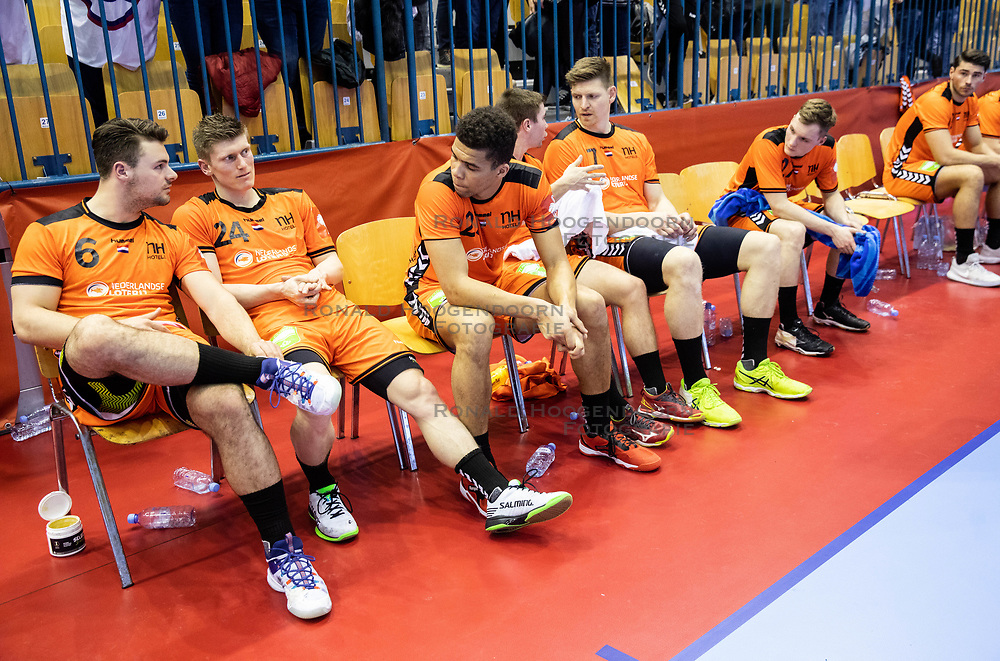 14-04-2019 SLO: Qualification EHF Euro Slovenia - Netherlands, Celje<br /> Team Netherlands look dejected after handball match between National teams of Slovenia and Netherlands in Qualifications of 2020 Men's EHF EURO