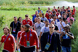 LYON, FRANCE - Wednesday, July 6, 2016: Wales' Gareth Bale and a throng of supporters on a pre-match walk near their team hotel before the UEFA Euro 2016 Championship Semi-Final match against Portugal. (Pic by David Rawcliffe/Propaganda)