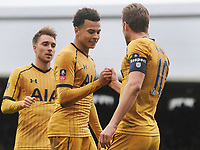 Football - 2016 / 2017 FA Cup - Fifth Round: Fulham vs. Tottenham Hotspur<br /> <br /> Harry Kane of Spurs celebrates scoring his 3rd goal with Dele Alli and a handshake at Craven Cottage.<br /> <br /> COLORSPORT/ANDREW COWIE