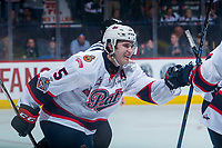 REGINA, SK - MAY 23: Josh Mahura #5 of the Regina Pats celebrates a third period goal against the Swift Current Broncos at the Brandt Centre on May 23, 2018 in Regina, Canada. (Photo by Marissa Baecker/CHL Images)