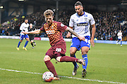 Bradford City Forward, Billy Clarke on the ball during the The FA Cup third round match between Bury and Bradford City at Gigg Lane, Bury, England on 9 January 2016. Photo by Mark Pollitt.