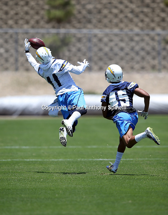 San Diego Chargers wide receiver Stevie Johnson (11) leaps and catches a pass with one hand during the San Diego Chargers Spring 2015 NFL minicamp practice held on Tuesday, June 16, 2015 in San Diego. (©Paul Anthony Spinelli)