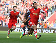 Picture by Paul Terry/Focus Images Ltd +44 7545 642257<br /> 28/09/2013<br /> Dani Osvaldo ( R ) of Southampton celebrates after scoring the opening goal during the Barclays Premier League match at the St Mary's Stadium, Southampton.