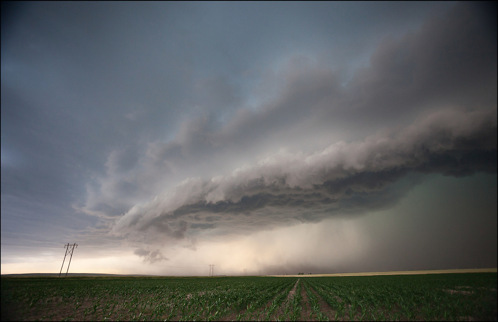 Shelfcloud moving over an open field pushing high winds, heavy rains, and hail with dust.