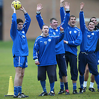 St Johnstone Training...23.01.04<br />New signing Stuart Taylor holds the ball aloft after winning a competition during  training before tomorrow's game v Raith, also pictured are from left, Mark Reilly, Jim Weir, Ian Maxwell, Ross Forsyth and John Robertson.<br />see story by Gordon Bannerman Tel: 01738 553978<br />Picture by Graeme Hart.<br />Copyright Perthshire Picture Agency<br />Tel: 01738 623350  Mobile: 07990 594431