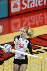 13 September 2011: Emily Schneider hammers the ball over the net during an NCAA volleyball match between the Ramblers of Loyola and the Illinois State Redbirds at Redbird Arena in Normal Illinois.