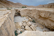A deep dry river gorge cut in the dry sandstone by flood water. The only water that flows into the Dead Sea, Israel