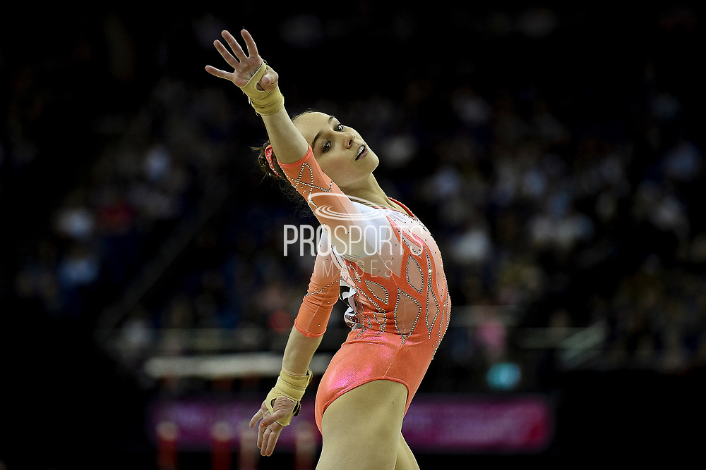 Tabea Alt of Germany (GER) on the Floor on her way to winning the Gold Medal during the iPro Sport World Cup of Gymnastics 2017 at the O2 Arena, London, United Kingdom on 8 April 2017. Photo by Martin Cole.