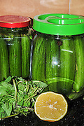 A jar of home made pickled cucumbers