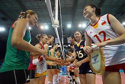 Teams shake hands