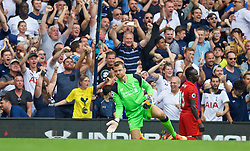 LONDON, ENGLAND - Saturday, August 27, 2016: Liverpool's goalkeeper Simon Mignolet  looks dejected as Tottenham Hotspur's Danny Rose scores the first equalising goal during the FA Premier League match at White Hart Lane. (Pic by David Rawcliffe/Propaganda)