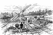 Panama Canal: excavating with steam-powered earth excavators and earth transporters at Tabemilla during the de Lesseps attempt to dig the Panama Canal. Wood engraving, 1888