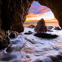 The sea cave at El Matador beach is fun to photograph. I was so excited to arrive at El Matador seeing the fantastic light and low tide. And to meet up with Jeff Lewis. That night's sunset was sure not to disappoint. As the tide was going out we made my way into the infamous El Matador sea cave and watched the show begin. It's not a easy task shooting with your back against the wall as the waves pounded, splashing and the tripod shifting in the sand. But it was an incredible experience!