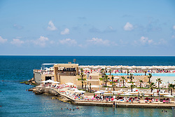 View of Central Military Club seaside resort in Beirut, Lebanon,