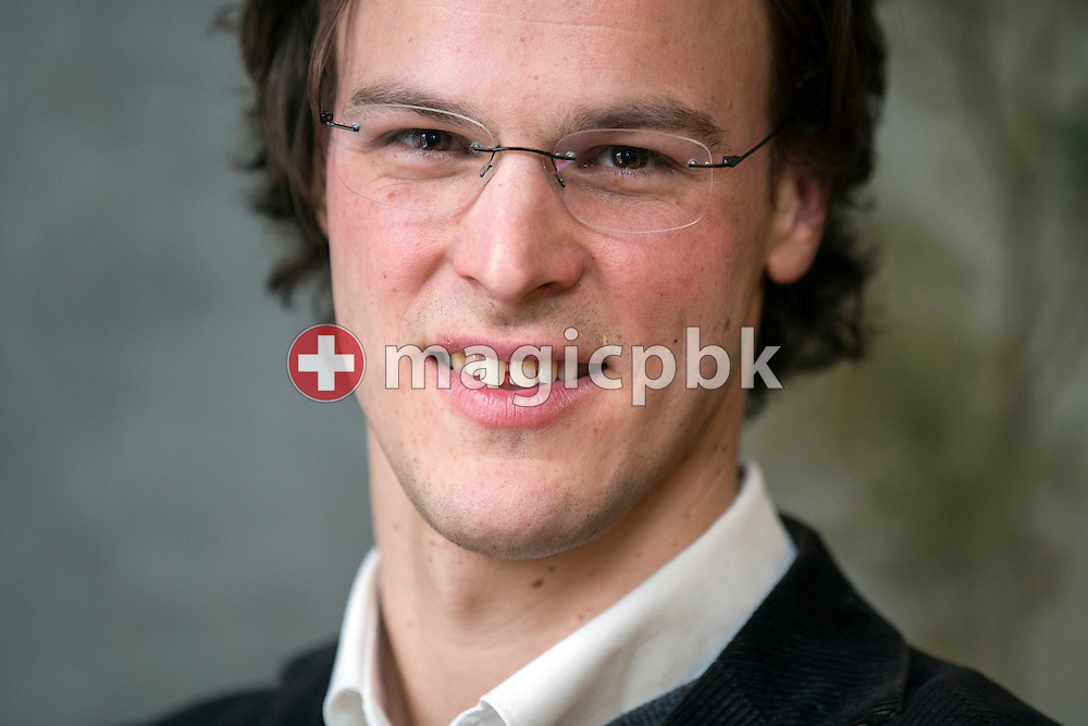 Bastien Girod, member of the Swiss National Council, poses for a photo after presenting his candidacy for the Council of States of Switzerland during a press conference of the Green Party of the Canton of Zurich, Friday, Feb. 27, 2015. (Photo by Patrick B. Kraemer / MAGICPBK)