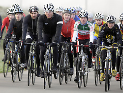 © Licensed to London News Pictures. 16/01/2013.Sir Chris Hoy in Kent today  (16.01.2013).. 11-time world champion, six-time Olympic champion and a winner of seven Olympic medals Sir Chris Hoy at the Cyclopark this afternoon in Gravesend. .Sir Chris was test riding his own new brand of Hoy Bikes at the Wrotham Road park..Photo credit : Grant Falvey/LNP