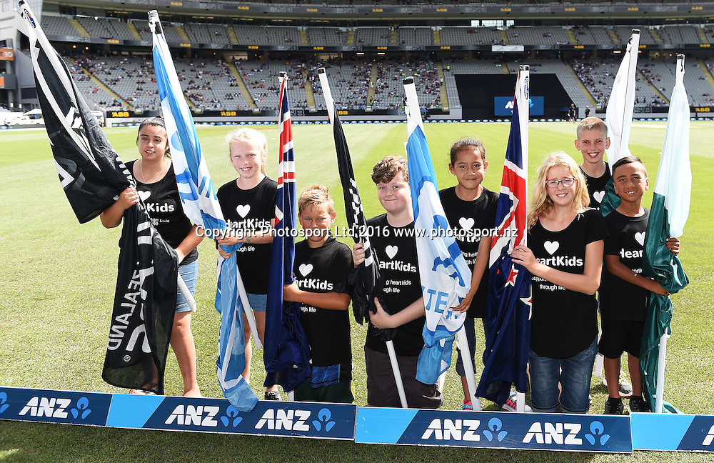 NZ Cricket's official charity Heart Kids as flag bearers during the New Zealand Black Caps v Pakistan 3rd ODI cricket match. Eden Park, Auckland, New Zealand. Saturday 31 January 2016. Copyright photo: Andrew Cornaga / www.photosport.nz
