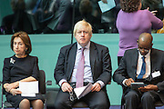 UNITED KINGDOM, London: 26 January 2016 From left to right: Holocaust survivor Hannah Lewis, London Mayor Boris Johnson and Rwandan genocide survivor Jean Baptiste Kayigamba sit in City Hall during a memorial service to remember victims of the Holocaust this morning. The Mayor of London, Boris Johnson, joined members of the London Assembly as well as Holocaust survivors to mark 71 years since the liberation of Auschwitz-Birkenau and to pay tribute to victims of other subsequent genocides. Rick Findler / Story Picture Agency