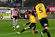 Goal - Ryan Bowman (12) of Exeter City scores a goal to give a 1-0 lead during the EFL Sky Bet League 2 match between Exeter City and Cambridge United at St James' Park, Exeter, England on 11 January 2020.