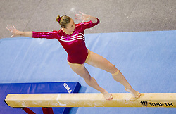 Lisa Ecker of Austria competes in the Balance Beam during Final day 2 of Artistic Gymnastics World Cup Ljubljana, on April 27, 2013, in Hala Tivoli, Ljubljana, Slovenia. (Photo By Vid Ponikvar / Sportida.com)