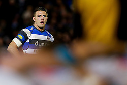 Bath Inside Centre Sam Burgess, making his first start for the Club, looks on behind a scrum - Photo mandatory by-line: Rogan Thomson/JMP - 07966 386802 - 12/12/2014 - SPORT - RUGBY UNION - Bath, England - The Recreation Ground - Bath Rugby v Montpellier Herault Rugby - European Rugby Champions Cup Pool 4.