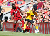 Football - 2018 / 2019 Premier League - Liverpool vs. Wolverhampton Wanderers <br /> <br /> Jonny Otto of Wolverhampton Wanderers vies with Sadio Mane of Liverpool, at Anfield<br /> <br /> COLORSPORT/BRUCE WHITE
