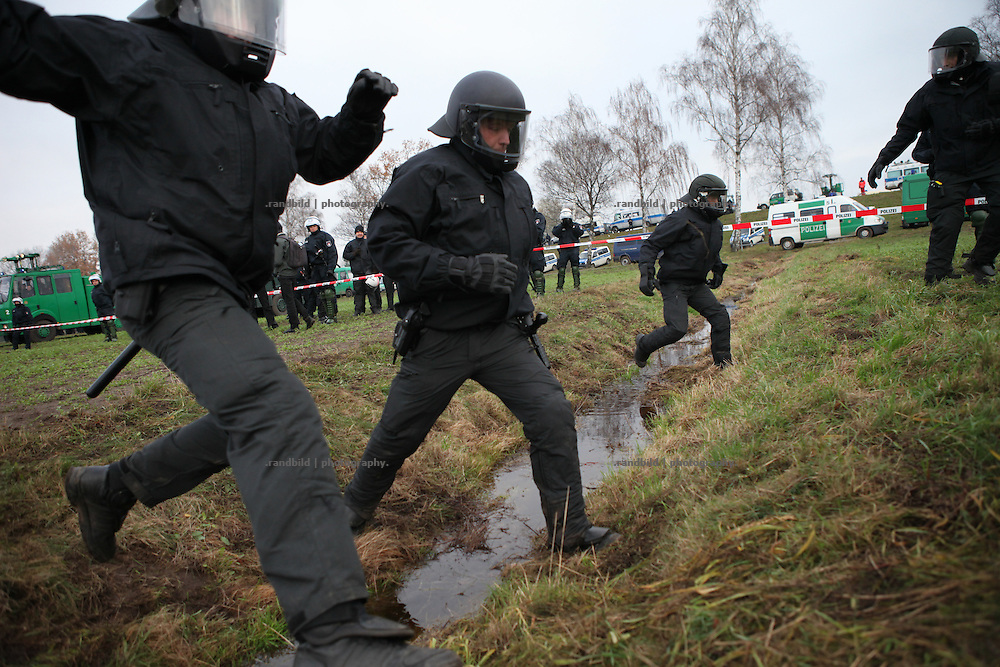 Unrest in Lüchow-Dannenberg. Thousands of people demonstrate against a transport of 11 Castor containers filled with high radioactive waste to Gorleben, Lower Saxony, Germany. The protest takes place shortly after the governments unpopular decision to extend the period of operation for german nuclear power plants for an additional decade.