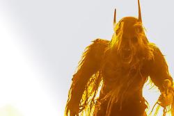 05.12.2017, Kaprun, AUT, Pinzgauer Krampustage im Bild ein als Krampus verkleidetes Mitglied einer Krampusgruppe beim Krampusumzug // A man dressed as a devil performs during a Krampus show. Krampus is a mythical creature that, according to legend, accompanies Saint Nicholas during the festive season. Instead of giving gifts to good children, he punishes the bad ones, Kaprun, Austria on 2017/12/05. EXPA Pictures © 2017, PhotoCredit: EXPA/ JFK