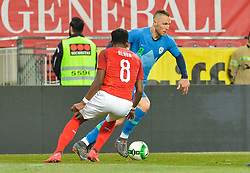 Kurtic Jasmin of Slovenia vs. David Alaba of Austria during friendly football match between National teams of Austria and Slovenia on March 25, 2018 in Woerthersee Stadion, Klagenfurt, Austria. Photo by Mario Horvat / Sportida