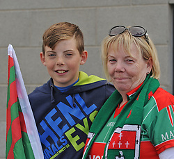 Bernie O&rsquo;Malley and her grandson Tristian on their way to McHale park.<br />Pic Conor McKeown