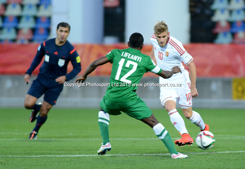 Hungary's Mario Nemeth and Nigeria's Ifeanyi Ifeanyi FIFA U-20 World Cup New Zealand. Hungary vs Nigeria, played at Stadium Taranaki, New Plymouth NZ, Sunday 7th June 2015.  <br />  Photo John Velvin / ESPNZ
