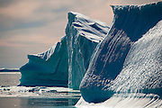 Icebergs from Humboldt Glacier,  Kane Basin, north west Greenland. Humboldt Glacier is 110km wide, making it the widest glacier in the Northern Hemisphere.