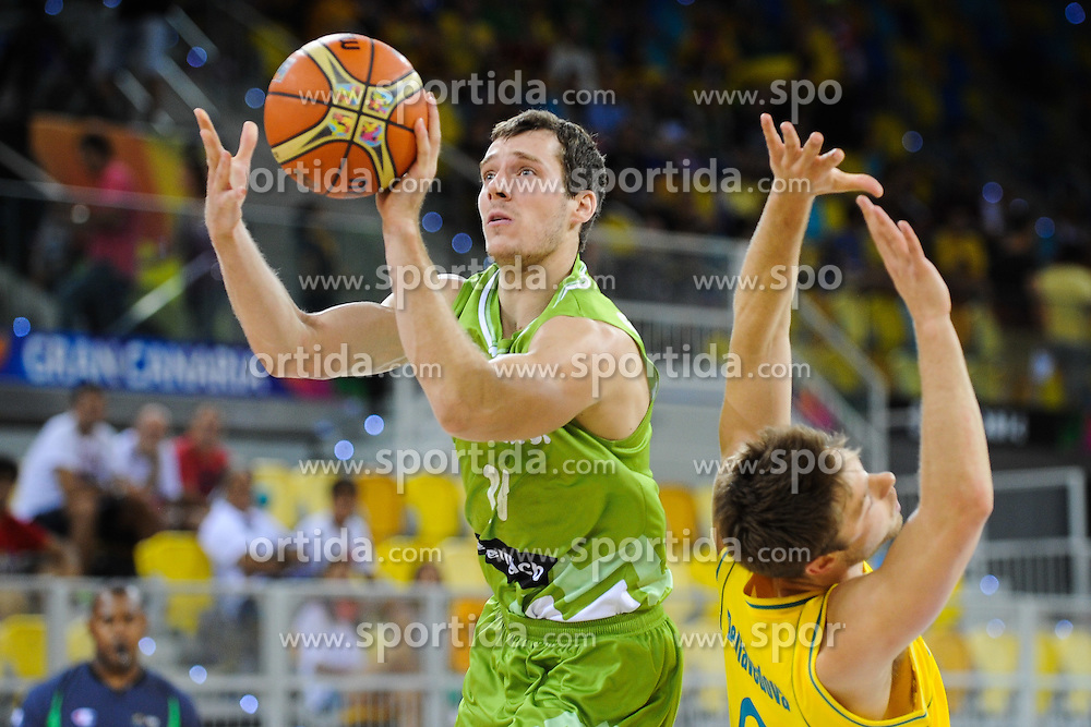 Goran Dragic of Slovenia during basketball match between National Teams of Slovenia and Australia in Round 1 of Group D of FIBA Basketball World Cup Spain 2014, on August 30, 2014 in Gran Canaria Arena, Las Palmas, Canary Islands. Photo by Tom Luksys  / Sportida.com <br /> ONLY FOR Slovenia, France