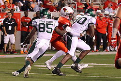 06 Sep 2014: Dion Starnes wraps up Joshua Banks during a non-conference NCAA football game between the Delta Devils of Mississippi Valley State and the Redbirds of Illinois State at Hancock Stadium in Normal Il
