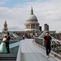 Chinese Wedding portraits on Millennium Bridge, St. Paul's, Southbank;<br />