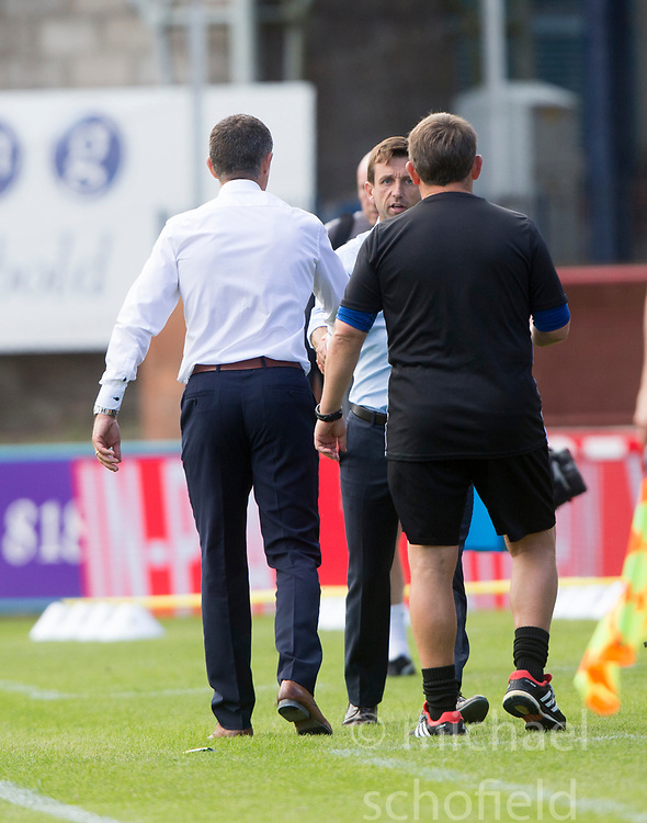 Ross County's manager Jim McIntrye and Dundee's manager Neil McCann at the end. Dundee 1 v 2 Ross County, Scottish Premiership game played 5/8/2017 at Dundee's home ground Dens Park.
