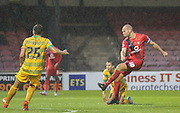 Russell Penn during the Sky Bet League 2 match between York City and Yeovil Town at Bootham Crescent, York, England on 18 August 2015. Photo by Simon Davies.