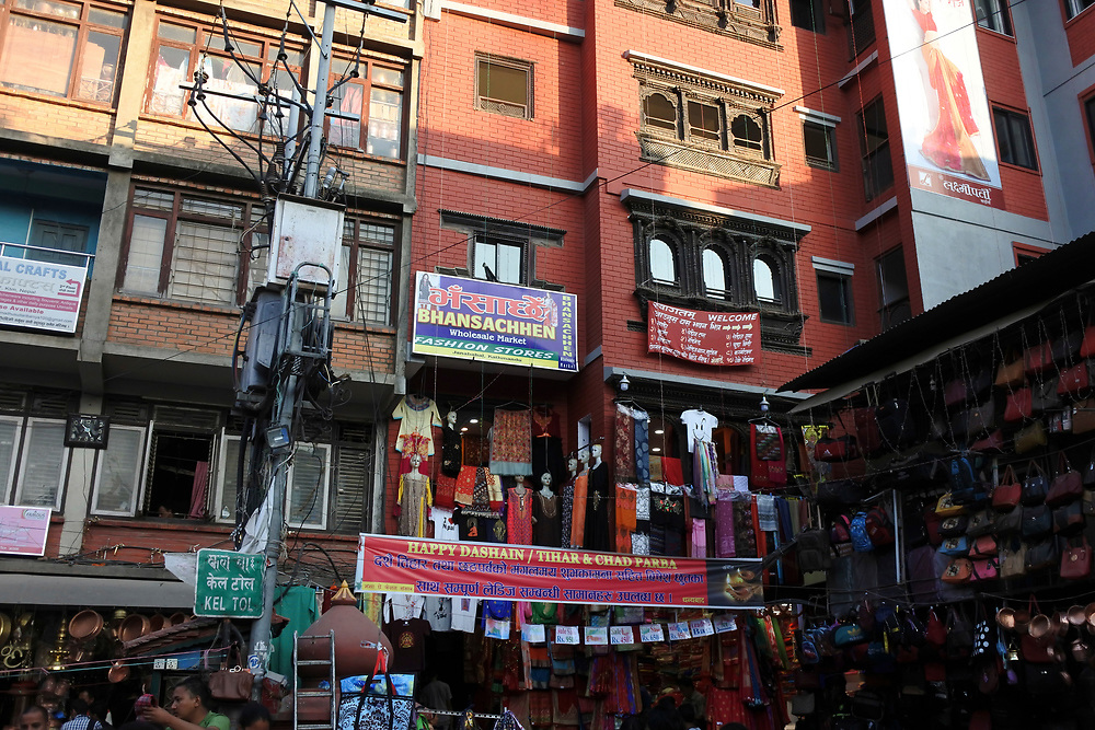 Shops selling their wares high up in the market place
