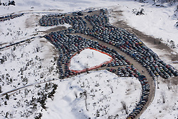 Parking place during Flying Hill Individual Qualifications at 1st day of FIS Ski Flying World Championships Planica 2010, on March 18, 2010, Planica, Slovenia.  (Photo by Vid Ponikvar / Sportida)