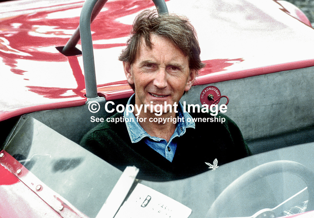John Watson, Belfast, N Ireland, racing driver, Formula 1, tries a sports car out for size at a 500 Motor Racing Club of Ireland event. 19850604JW1.<br /> <br /> Copyright Image from Victor Patterson, 54 Dorchester Park, Belfast, UK, BT9 6RJ<br /> <br /> t: +44 28 9066 1296 (from Rep of Ireland 048 9066 1296)<br /> m: +44 7802 353836<br /> <br /> victorpattersonbelfast@gmail.com<br /> www.victorpatterson.com<br /> <br /> Please see my Terms and Conditions of Use at https://www.victorpatterson.com/page2<br /> It is IMPORTANT that you familiarise yourself with them.<br /> <br /> Images used online incur an additional cost and must be visibly watermarked i.e. © Victor Patterson within the body of the image and copyright metadata must not be deleted. Images used on the Internet have a size restriction of 4kbs and are chargeable at rates available at victorpatterson.com.<br /> <br /> This image is only available for the use of the download recipient i.e. television station, newspaper, magazine, book publisher, etc, and must not be passed on to any third party. It is also downloaded on condition that each and every subsequent usage is notified within 7 days to victorpattersonbelfast@gmail.com<br /> <br /> The right of Victor Patterson to be identified as the author is asserted in accordance with The Copyright Designs And Patents Act (1988). All moral rights are asserted.