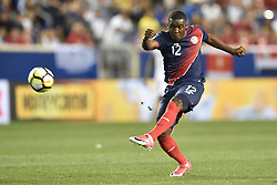 July 7, 2017 - Harrison, New Jersey, U.S - Costa Rica midfielder JOEL CAMPBELL (12) shoots on goal during CONCACAF Gold Cup 2017 action at Red Bull Arena in Harrison New Jersey Costa Rica defeats Honduras 1 to 0. (Credit Image: © Brooks Von Arx via ZUMA Wire)