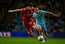 11.01.2012, Etihad Stadion, Manchester, ENG, Carling Cup, Manchester City vs FC Liverpool, Halbfinale, im Bild Liverpool's Martin Kelly in action against Manchester City's Gael Clichy during the football match of English Carling Cup, Halffinal, between Manchester City and FC Liverpool at Etihad Stadium, Manchester, United Kingdom on 2012/01/11. EXPA Pictures © 2012, PhotoCredit: EXPA/ Propagandaphoto/ David Rawcliff..***** ATTENTION - OUT OF ENG, GBR, UK *****
