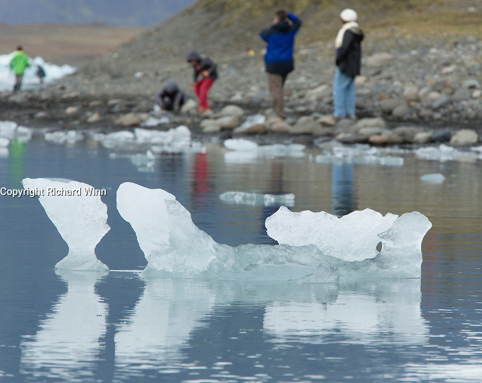 Melting ice in the glacial lagoon of Jökulsárlón, in southeastern Iceland.