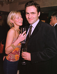 Actress DEBORAH SHERIDAN-TAYLOR and her good friend MR ADRIAN BASTICK-VITORIA, at a party in London on 27th January 1999.MNM 34