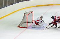 2020-01-19 | Umeå, Sweden:Teg (22) Oliver Lindgren almost score but Vallentuna (1) Alexander Jirhage save the goal in  AllEttan during the game  between Teg and Vallentuna at A3 Arena ( Photo by: Michael Lundström | Swe Press Photo )<br /> <br /> Keywords: Umeå, Hockey, AllEttan, A3 Arena, Teg, Vallentuna, mltv200119