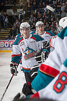 KELOWNA, CANADA - JANUARY 24:  Carter Rigby #11 of the Kelowna Rockets celebrates a goal against the Seattle Thunderbirds at the Kelowna Rockets on January 24, 2013 at Prospera Place in Kelowna, British Columbia, Canada (Photo by Marissa Baecker/Shoot the Breeze) *** Local Caption ***