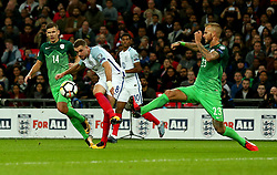 Jordan Henderson of England shoots at goal - Mandatory by-line: Robbie Stephenson/JMP - 05/10/2017 - FOOTBALL - Wembley Stadium - London, United Kingdom - England v Slovenia - World Cup qualifier