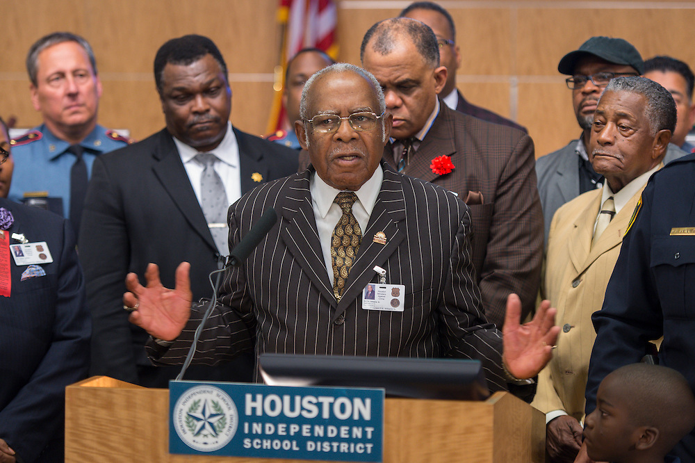 Houston Ministers Against Crime president Pastor F.N. Williams, Sr. comments during a press conference for Project Safe Start, a collaborative program between area ministers, law enforcement and school officials to encourage students to have a safe summer, May 27, 2014.
