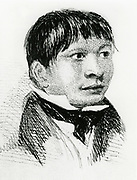 Jemmy Button, the Fuegian 'adopted' by the expedition, as he appeared in 1833. From Robert Fitzroy 'Narrative of the Surveying Voyages of His Majesty's Ships Adventure and Beagle' Vol II, London 1839. Fitzroy was captain of the Beagle on the circumnavigation when Charles Darwin was the naturalist.